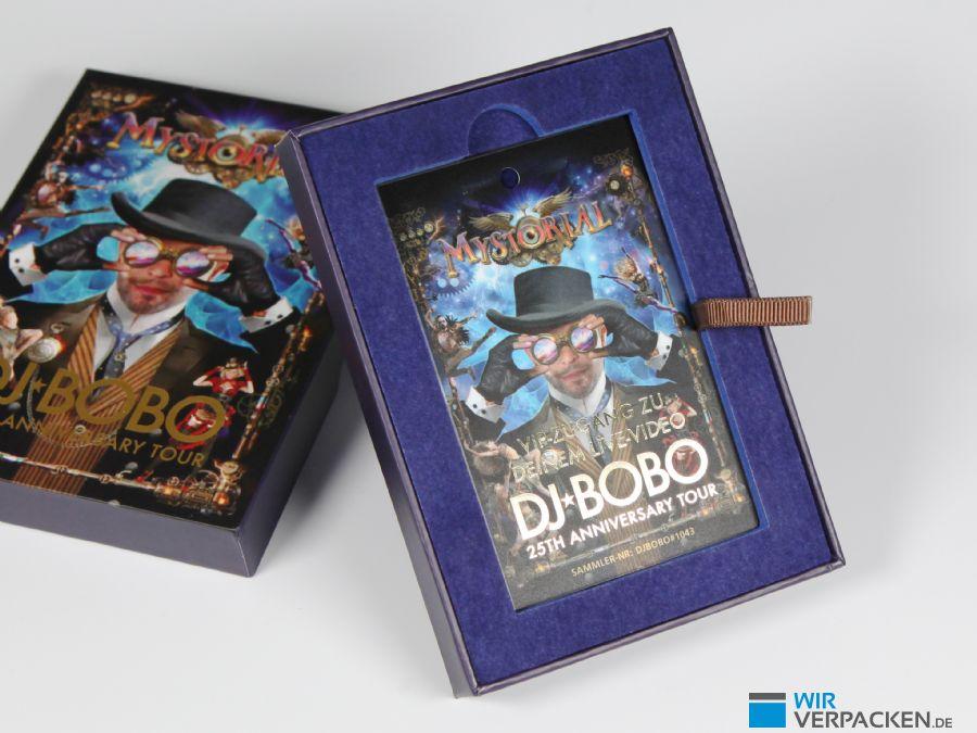 Bedruckte Verpackung für DJ Bobo VIP Ticket