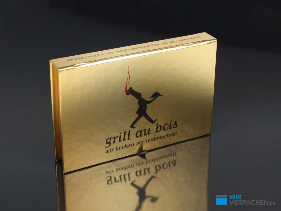 Goldene Magnetbox für Restaurantgutschein