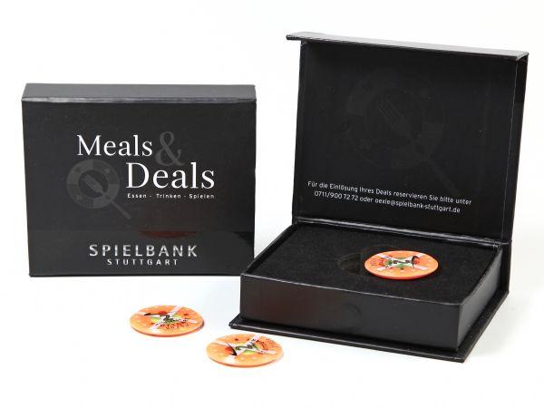 Geschenkbox mit partiellem UV-Lack und edlem Schaumstoff-Inlay für Spielchips