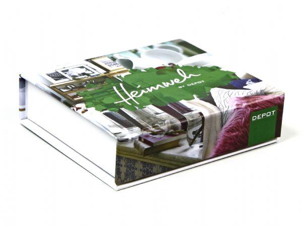 Klappschachtel mit vollflächigem Fotodruck und Logo