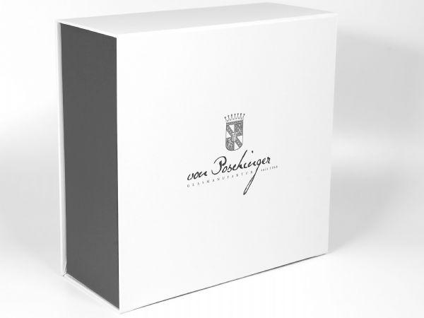 Große Verpackung mit glänzender Oberfläche, hochwertige Geschenkbox für Glas