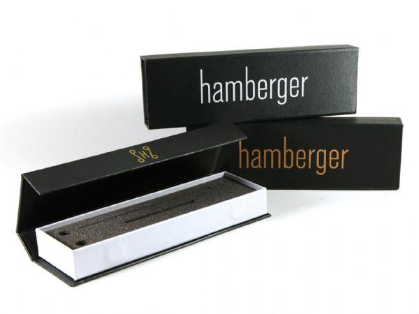 Schmale, längliche, hochwertige Klappbox mit Siebdruck für Instrumentenzubehör