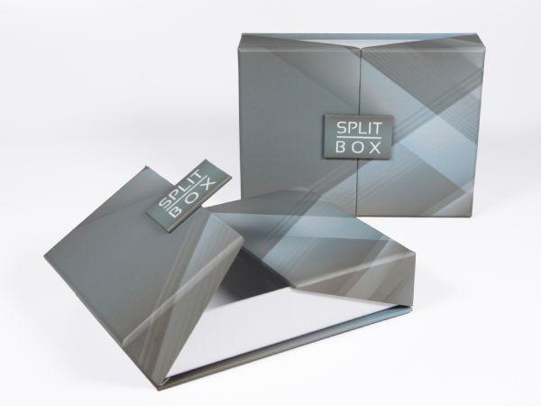 Klappschachtel mit kreativem Magnetverschluss. Hochwertig und elegant. Deckel aus der Mitte heraus aufklappbar. Kreativ, stilvoll, vollflächig bedruckbar.