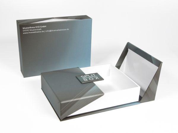 Faltschachtel mit kreativem Magnetverschluss. Hochwertig und elegant, Deckel auf beiden Seiten aufklappbar, kreativ, stilvoll, vollflächig bedruckbar.