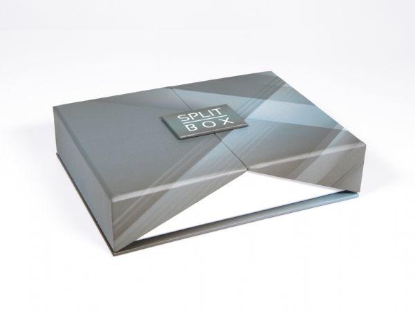 Klappschachtel mit kreativem Magnetverschluss. Hochwertig und elegant, Deckel auf beiden Seiten aufklappbar, kreativ, stilvoll, vollflächig bedruckbar.