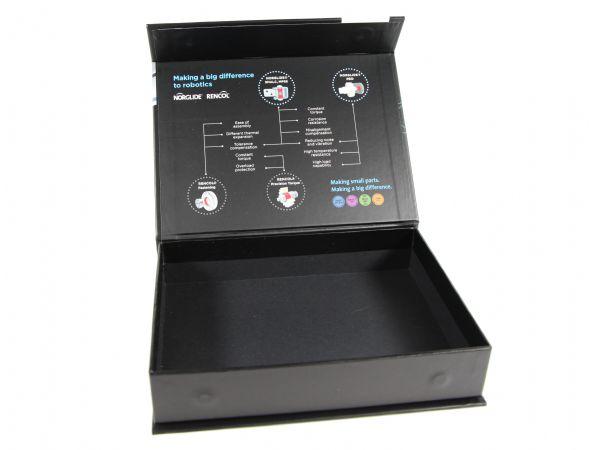 Bedruckte Innenseite einer schwarzen Klappschachtel mit Magnetverschluss. Die Deckelinnenseite wurde mit einer umfangreichen Produktbeschreibung versehen.
