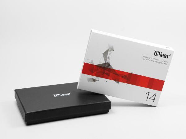 Schwarze Stülpdeckelverpackung mit vollflächig bedruckter weißer Banderole
