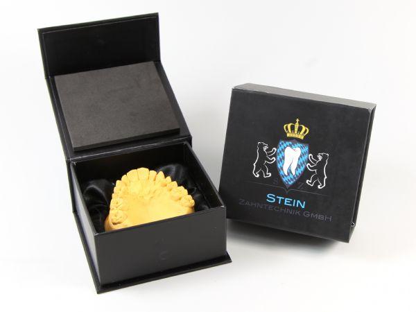Detalbox für ein Zahnmodell mit dem Logo des Dentallabors bedruckt. Die Box (90 x 90 x 45 mm) wurde mit einem Schaumstoffeinleger mit Satintuch ausgekleidet.