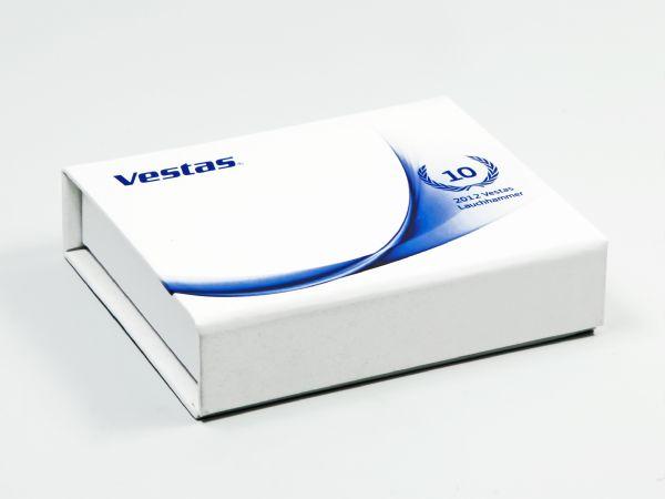 Weiße Magnetklappbox mit Digitaldruck