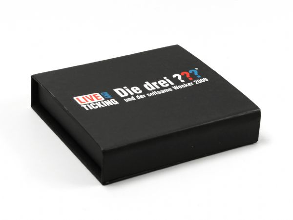 Schwarze USB-Stick Verpackung, Klappbox mit Logoaufdruck
