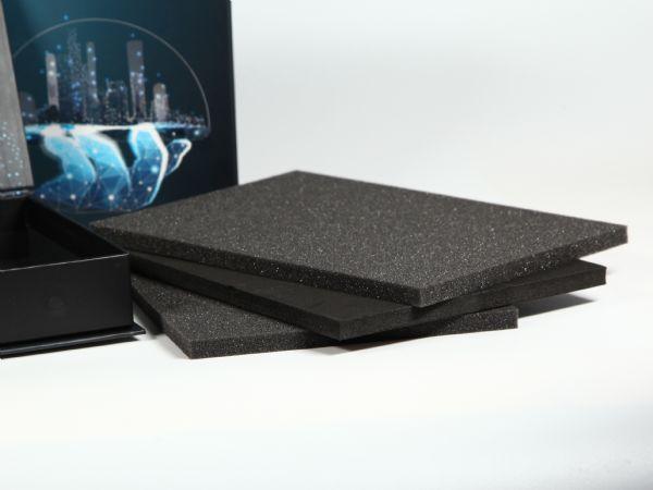 Inlays für die sichere Halterung im Innenraum der bedruckbaren Din A5 Klappbox -Inlaymaterial, Schaumstoff, Schaumstoffe, Verpackung, Präsetnationsbox v