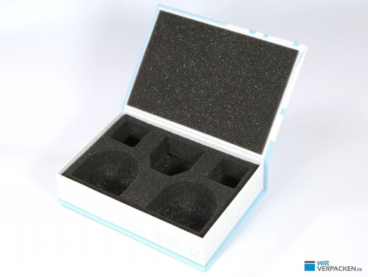 Dentalbox mit Schaumstoff für zwei Zahnmodelle
