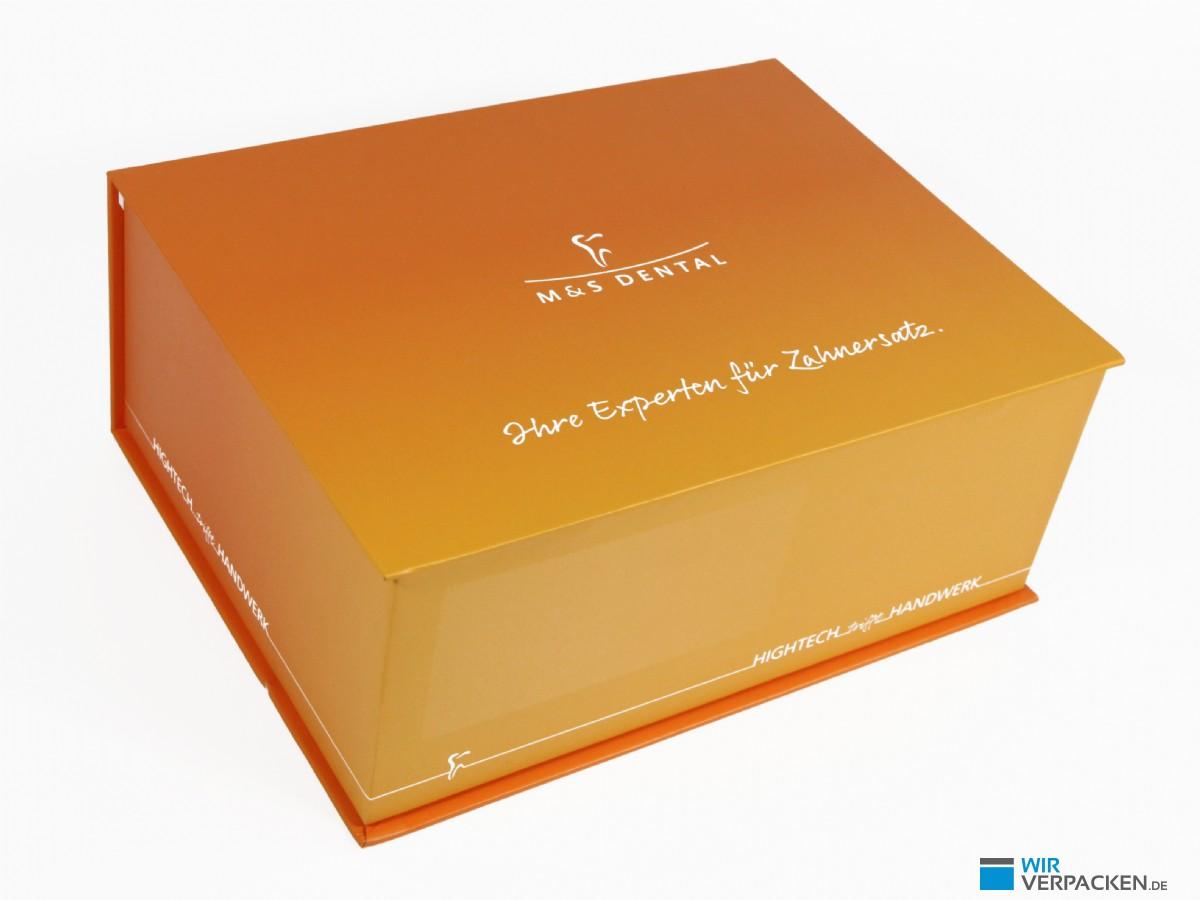 Zahnbox orange mit Aufdruck